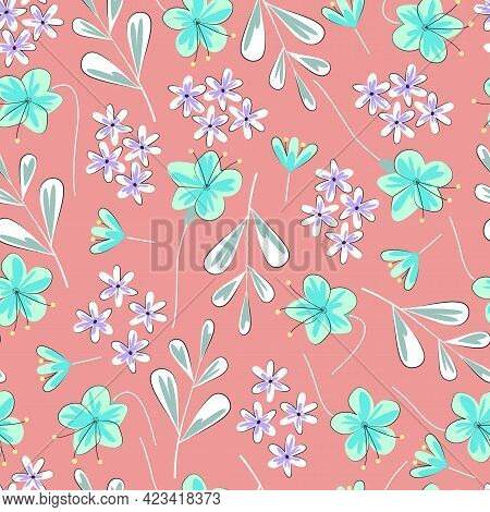 Decorative Ornamental Trendy Seamless Pattern Design Of Flowers And Leaves For Textile And Printing.