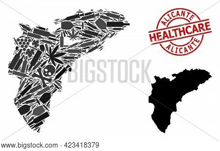 Vector Narcotic Collage Map Of Alicante Province. Scratched Health Care Round Red Stamp. Concept For