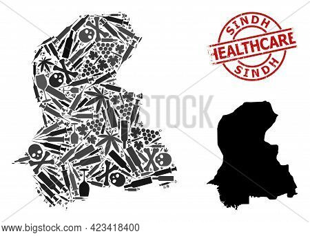 Vector Narcotic Collage Map Of Sindh Province. Grunge Health Care Round Red Seal Stamp. Concept For