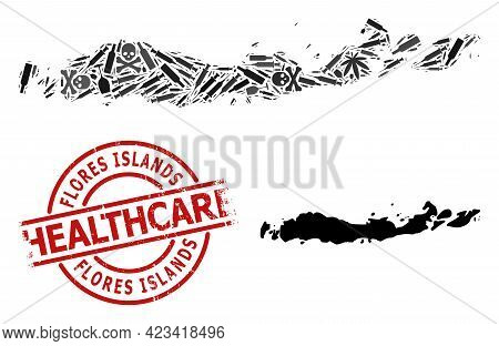 Vector Narcotic Collage Map Of Indonesia - Flores Islands. Grunge Health Care Round Red Watermark. C