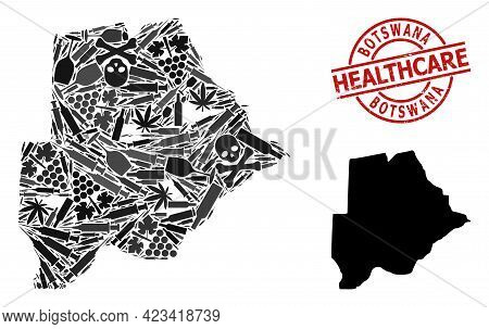 Vector Narcotic Collage Map Of Botswana. Scratched Health Care Round Red Seal. Template For Narcotic