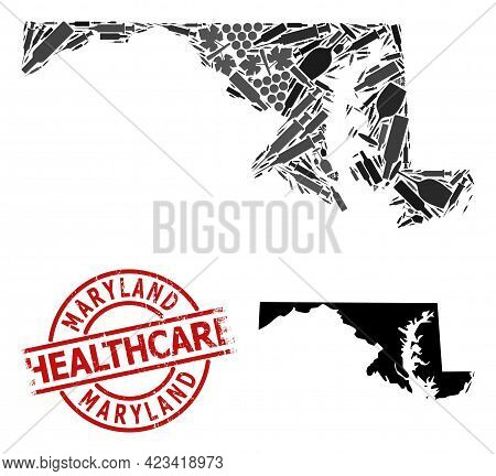 Vector Narcotic Mosaic Map Of Maryland State. Rubber Health Care Round Red Rubber Imitation. Templat