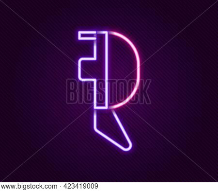 Glowing Neon Line Fencing Helmet Mask Icon Isolated On Black Background. Traditional Sport Defense.