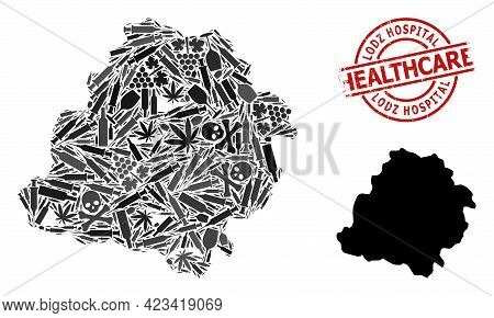 Vector Narcotic Mosaic Map Of Lodz Province. Rubber Health Care Round Red Seal Stamp. Concept For Na