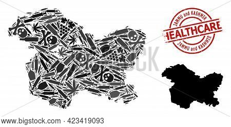 Vector Narcotic Collage Map Of Jammu And Kashmir State. Rubber Health Care Round Red Seal. Concept F
