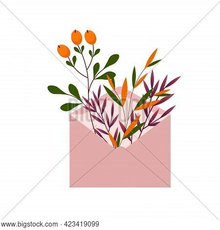 Plants In A Postal Envelope. Branches With Leaves And Orange Berries. Vector Illustration Isolated O