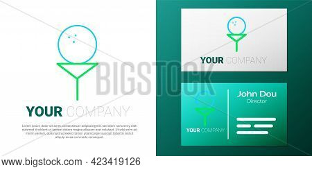 Line Golf Ball On Tee Icon Isolated On White Background. Colorful Outline Concept. Vector