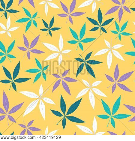 Elegant Trendy Seamless Vector Floral Ditsy Pattern Design Of Tropical Pachira Leaves. Trendy Foliag