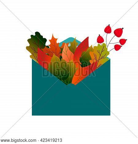Autumn Leaves And Red Berries In A Mail Envelope. Vector Illustration Isolated On White Background.
