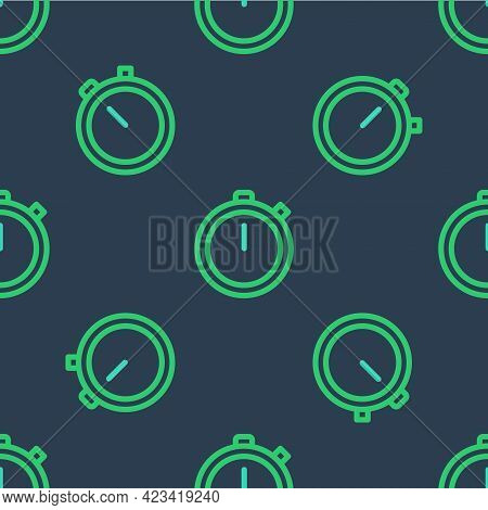 Line Stopwatch Icon Isolated Seamless Pattern On Blue Background. Time Timer Sign. Chronometer Sign.