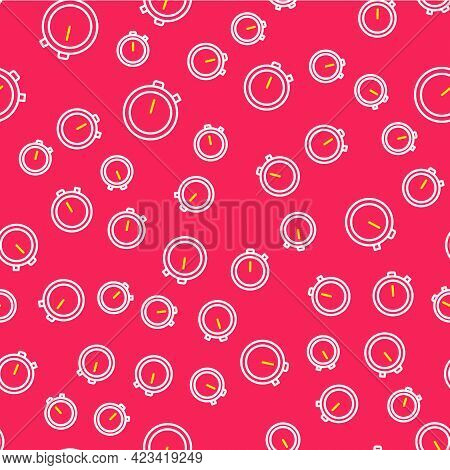 Line Stopwatch Icon Isolated Seamless Pattern On Red Background. Time Timer Sign. Chronometer Sign.