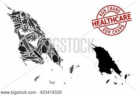 Vector Drugs Composition Map Of Koh Chang. Scratched Health Care Round Red Stamp. Template For Narco