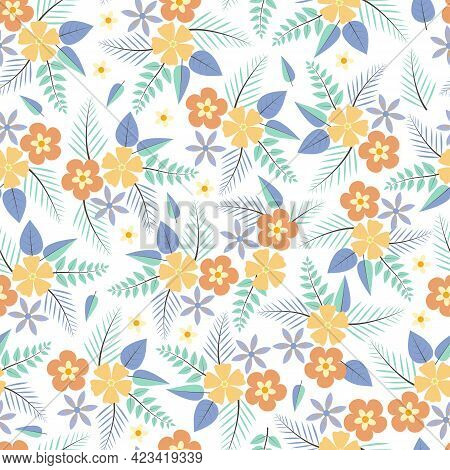 Decorative Trendy Vector Seamless Floral Ditsy Pattern Design. Stylish Repeating Blooming Flowers An