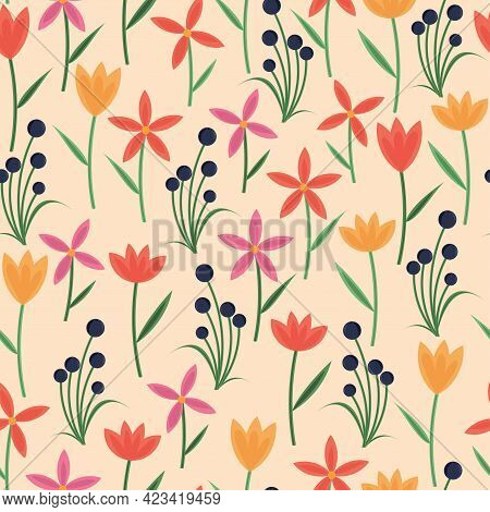 Trendy Attractive Vector Seamless Floral Ditsy Pattern Design. Modern Elegant Repeating Blooming Flo