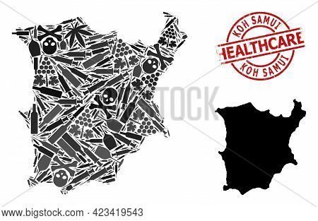 Vector Drugs Collage Map Of Koh Samui. Grunge Health Care Round Red Seal Stamp. Concept For Narcotic