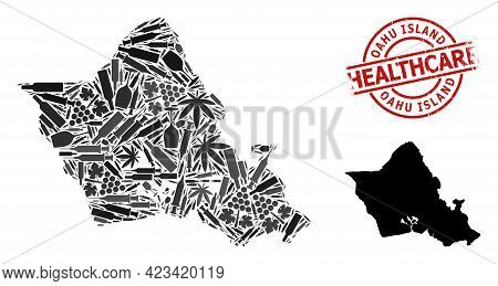 Vector Narcotic Composition Map Of Oahu Island. Grunge Health Care Round Red Imprint. Template For N