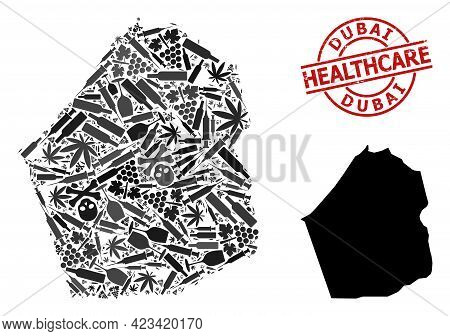 Vector Narcotic Composition Map Of Dubai Emirate. Rubber Healthcare Round Red Badge. Template For Na
