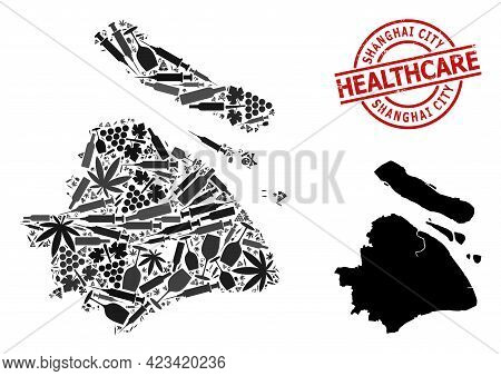 Vector Addiction Mosaic Map Of Shanghai Municipality. Rubber Health Care Round Red Imprint. Template