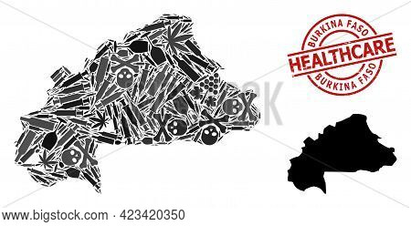 Vector Narcotic Collage Map Of Burkina Faso. Rubber Healthcare Round Red Badge. Concept For Narcotic