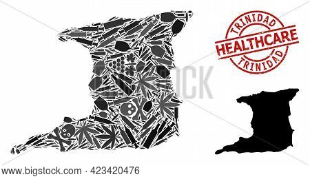 Vector Narcotic Collage Map Of Trinidad Island. Rubber Health Care Round Red Stamp. Concept For Narc