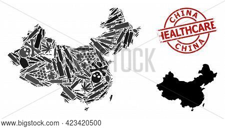 Vector Narcotic Mosaic Map Of China. Rubber Healthcare Round Red Rubber Imitation. Concept For Narco