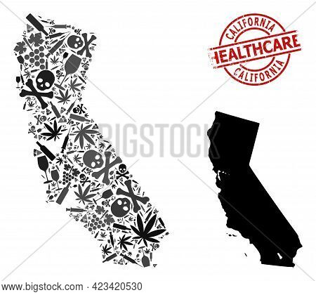 Vector Addiction Composition Map Of California. Scratched Health Care Round Red Watermark. Template