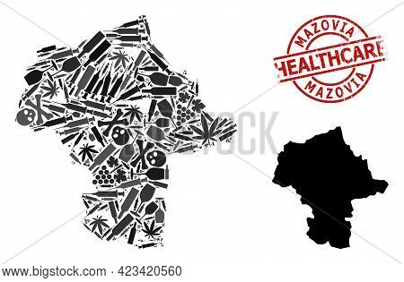 Vector Addiction Composition Map Of Mazovia Province. Grunge Health Care Round Red Seal. Template Fo