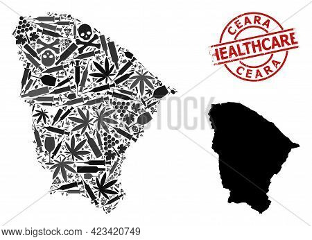 Vector Addiction Composition Map Of Ceara State. Grunge Health Care Round Red Watermark. Template Fo