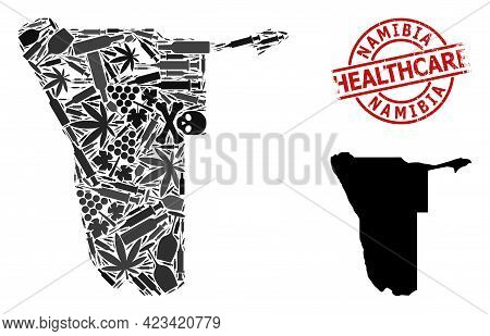 Vector Addiction Composition Map Of Namibia. Grunge Healthcare Round Red Badge. Template For Narcoti