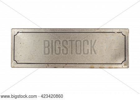 Front View Closeup Of Empty Vintage Metallic Signage Plaque In Silver Color With Black Border Isolat
