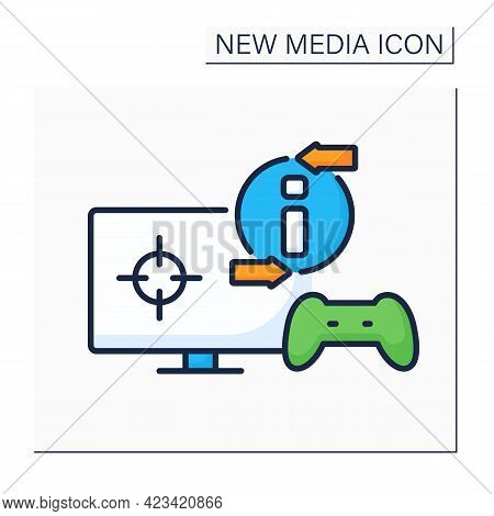 Video Game Color Icon. Online Gaming Process. Interaction With Players. Input Device. Joystick, Moni