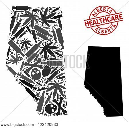 Vector Narcotic Mosaic Map Of Alberta Province. Rubber Healthcare Round Red Rubber Imitation. Templa