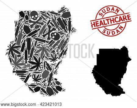 Vector Addiction Mosaic Map Of Sudan. Grunge Healthcare Round Red Rubber Imitation. Concept For Narc