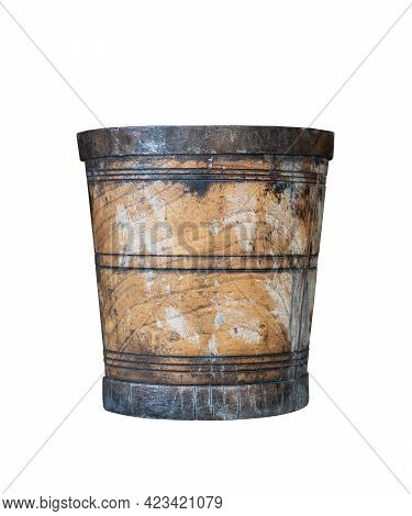 Front View Closeup Of Aged Wooden Bucket With Metal Rings Isolated On White Background
