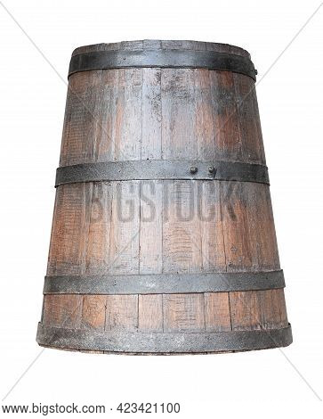 Front View Closeup Of Old Wooden Conical Wine Whiskey Or Beer Barrel With Rusted Metallic Collars Is