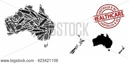 Vector Narcotic Collage Map Of Australia And New Zealand. Rubber Healthcare Round Red Rubber Imitati