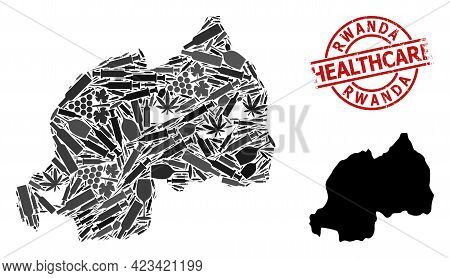 Vector Narcotic Collage Map Of Rwanda. Scratched Health Care Round Red Imprint. Concept For Narcotic