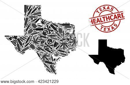 Vector Narcotic Mosaic Map Of Texas State. Grunge Healthcare Round Red Rubber Imitation. Concept For