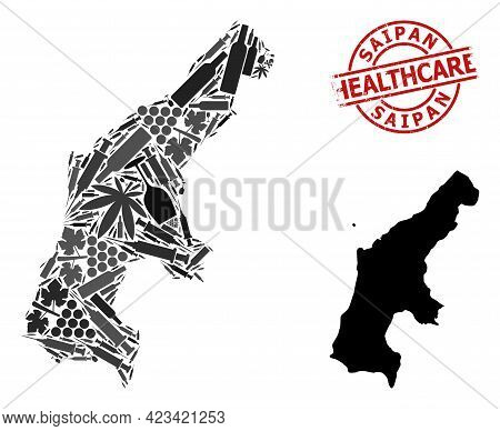 Vector Addiction Collage Map Of Saipan Island. Grunge Health Care Round Red Seal Stamp. Concept For