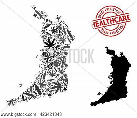 Vector Drugs Collage Map Of Osaka Prefecture. Rubber Healthcare Round Red Imprint. Template For Narc