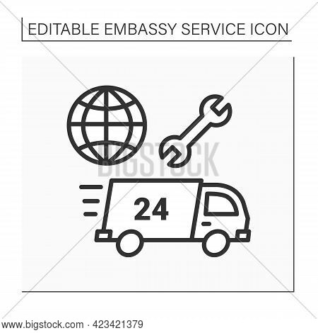 Assistance Line Icon. Fast Help In Arresting Citizens, Serious Illness. Embassy Service Concept. Iso