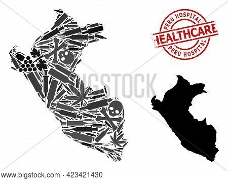 Vector Narcotic Collage Map Of Peru. Scratched Healthcare Round Red Watermark. Concept For Narcotic