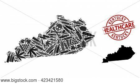 Vector Narcotic Mosaic Map Of Kentucky State. Rubber Health Care Round Red Watermark. Template For N