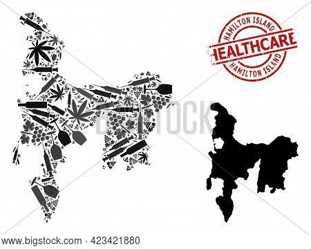 Vector Narcotic Mosaic Map Of Hamilton Island. Grunge Healthcare Round Red Imprint. Template For Nar