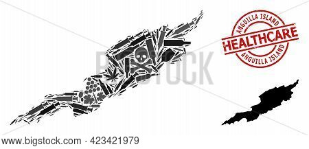 Vector Narcotic Mosaic Map Of Anguilla Island. Scratched Healthcare Round Red Stamp. Template For Na