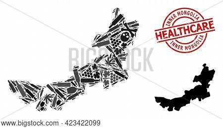 Vector Narcotic Collage Map Of Inner Mongolia. Rubber Healthcare Round Red Rubber Imitation. Templat