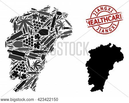 Vector Narcotic Mosaic Map Of Jiangxi Province. Rubber Healthcare Round Red Imprint. Concept For Nar