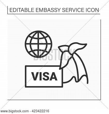 Tourism Line Icon. Visa Sign Agreement Or Visa-free Passport For Travelling. Limited Time. Embassy S
