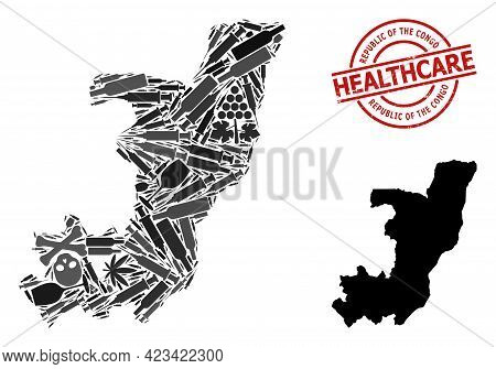 Vector Narcotic Composition Map Of Republic Of The Congo. Grunge Healthcare Round Red Imprint. Templ