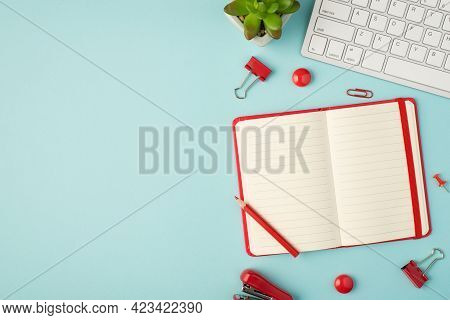 Top View Photo Of Open Red Organizer Binders Pins Clips Stapler Flowerpot And Keyboard On Isolated P